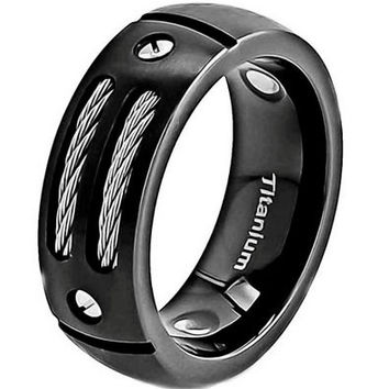 Black Titanium Wedding Band With Stainless Steel Cable