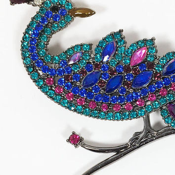 Rhinestone Peacock Brooch Vintage Signed AVON SP Blue Green Pink Purple Jewel Tone Rhinestones Bird Pin Dangling Bead Tail Feathers