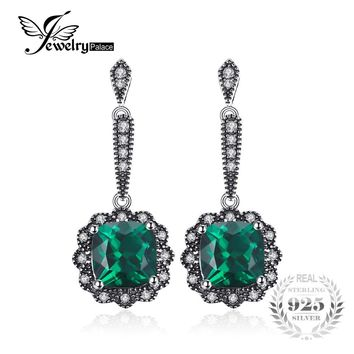 JewelryPalace 3ct Square Created Emerald Drop Earrings Solid 925 Sterling Silver Wedding Vintage Brand Jewelry 2017