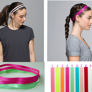 5 pieces Set Double Sports Elastic Headband Softball Yoga Anti-slip Silicone Rubber Hair Bands Bandage On Head For Hair Scrunchy