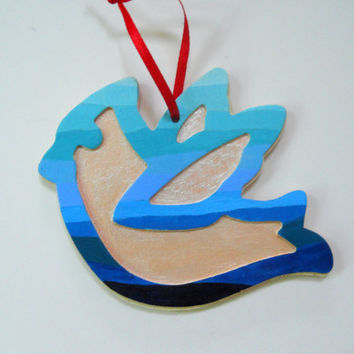 Hand Painted Blue Ombre Dove Ornament