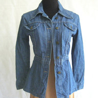 70s Denim Jean Jacket, 1970's Vintage Rumble Seats Medium Blue Denim Military Safari Style Size M (tag) XS XSmall to S Small (measured)