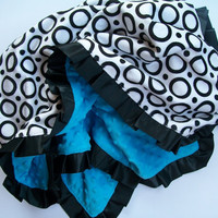 Double Minky Toddler Blanket with Satin Ruffle - Mod Circles & Turquoise