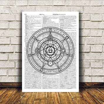 Witch art Occult poster Alchemy print Modern decor RTA322