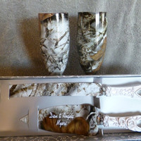 Camo Wedding champagne glasses and serving set  for rustic wedding processed in Snow camo.