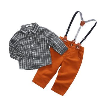 Toddler Boys Clothing Set Spring Summer Baby Boy Shirt+Suspender Children Kid Clothes Suits Formal Wedding Party Costume Outfits
