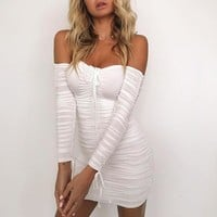 Off Shoulder Elastic Bodycon Dresses