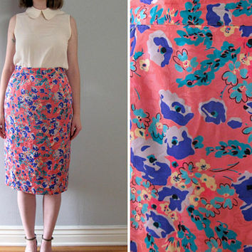 floral silk skirt - 90s vintage pink blue purple gray ditsy high waisted tight pencil wiggle fit knee midi length Flora Kung designer medium
