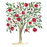 Pomegranate Tree,  folk art inspired  Art  Print of original watercolor painting, Garnet Red Pine Green, home deocr, weddings, new home gif
