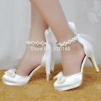 Woman Shoes White Ivory High Heel Round Toe Platform Ankle Strap Satin Pumps Women's Wedding Bridal Shoes Prom Dress ShoeEP11074