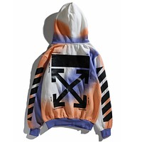 OFF-White Trending Women Men Loose Print Colorful Long Sleeve Hoodie Couple Sweater Top Sweatshirt I13842-1