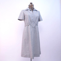 Vintage Dress by Leslie Fay Short Sleeves Adjustable Waist Heather Grey Gray 1970s S to M ILGWU