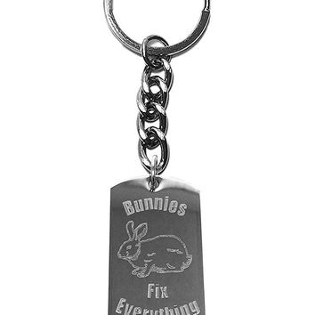 Bunnies Fix Everything Metal Ring Key Chain Keychain