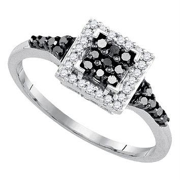 Sterling Silver Black Color Enhanced Round Diamond Women's Square Halo Cluster Ring 1/3 Cttw - FREE Shipping (USA/CAN)