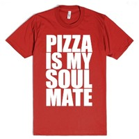 Pizza Is My Soulmate-Unisex Red T-Shirt