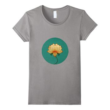 Lotus Moon Om Buddha T-shirt- Yoga- Flower- India Symbol