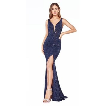 Long Fitted Gown Navy Blue Rhinestone Embellishment Illusion Sides