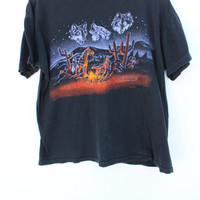 Graphic Tee / Vintage 90s / Men's LARGE / Wide Boxy Crop Shirt / Desert Scene Cactus Howling Wolves  / Faded Black T-Shirt /