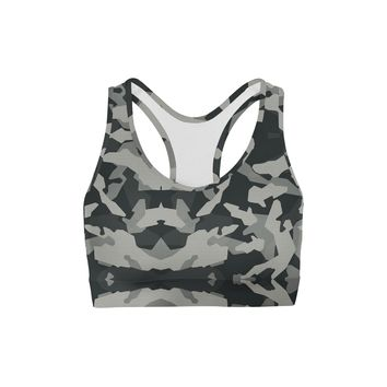 Digital Grey Camo Sports Bra