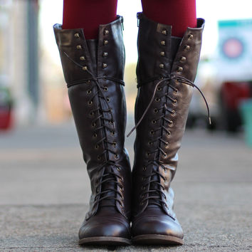Libby Tall Combat Boots {Dark Brown} from The Fair Lady Boutique