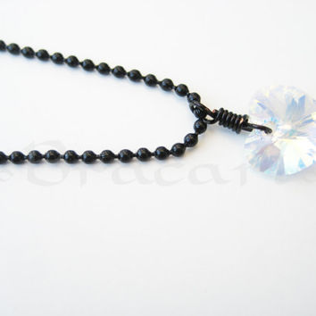 Swarovski Crystal Pendant - Authentic Swarovski AB Heart Wire Wrapped and  Black Necklace f8aeea110
