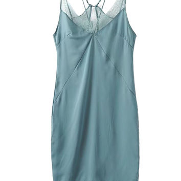 Sea Green Silky Lace Trim Slit Back Strappy Slip Dress