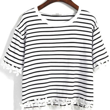 Striped Crop T-Shirt with Appliques Accent - White