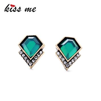 KISS ME Ms Fashion Classic Imitation Emerald Geometric Crystal Stud Earrings Factory Wholesale