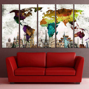 world map wall art canvas print wonders of the world, watercolor world map push pin with countries office decor for large wall No:6S36