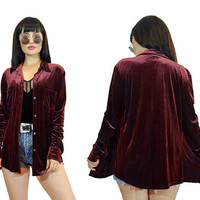 vintage 90s wine velvet duster jacket slouchy shirt top soft grunge plum burgundy velvet button up blouse minimalist red gothic small