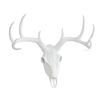 Large Deer Head Skull | Faux Taxidermy | White Resin