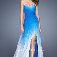 Strapless Floor Length Ombre Dress