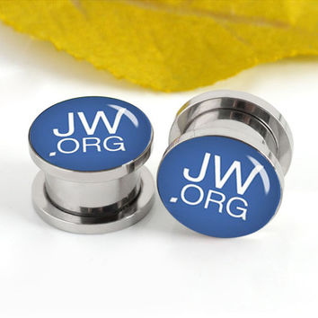 JW Monogram font  ear plugs ,,Screw Kit Women Flesh Tunnel,Body Piercing, Steel Tunnels