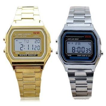 New Fashion Unisex's Watches Men's Vintage Stainless Steel LED Digital Women's Stopwatch Sports Wristwatches Casual Male Female Wrist Watches [9305806023]