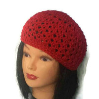Women Red Hat, Summer Crochet Cap, Spring Female Gift, Lacy Crochet Hat, Gypsy Style, Boho Slouch, Cute Hats