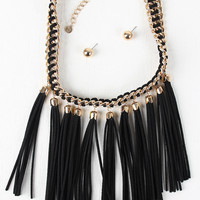 Suede Tassels Threaded Chain Necklace