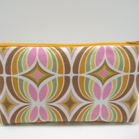 Retro Cosmetic Pouch, Zippered Pouch, Accessory Pouch, Pencil Case, Brown and and Pink Retro Print, Ready to Ship