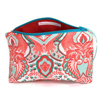 Bridesmaid Makeup Cosmetic Bag, Pencil Case, Zippered Pouch Pink Red Teal