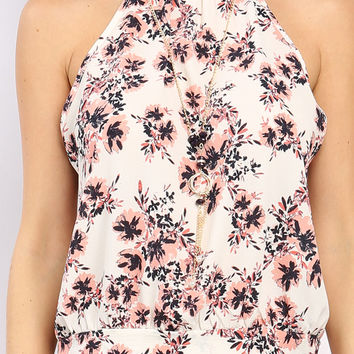Floral Self-Tie Back Sleeveless Top