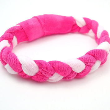Recycled T Shirt Bracelet Braided Fabric Bracelet Pink Bleached Womens Accessories