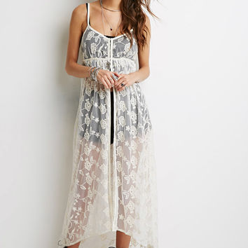 Sheer Floral-Embroidered Maxi Dress