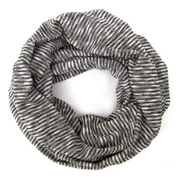 Grey Striped Cotton T-Shirt Knit Cowl Scarf Casual Infinity Loop Scarf Striped Yoga Scarf Black Grey White Casual Womens Teen Scarf