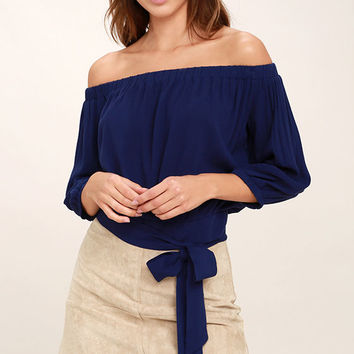 Chic Again Navy Blue Off-the-Shoulder Crop Top