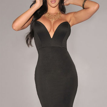 Black Plunging V Neckline Strapless Bodycon Dress