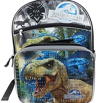 Jurassic World Indominus Rex Kids School Backpack with Insulated Lunch Bag