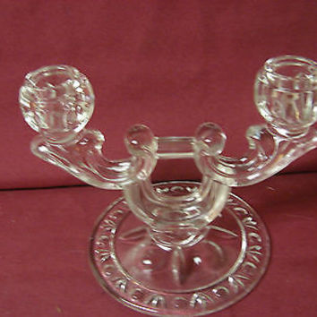 #Crystal  Depression Era Vintage Pressed Glass 2 light candle holder