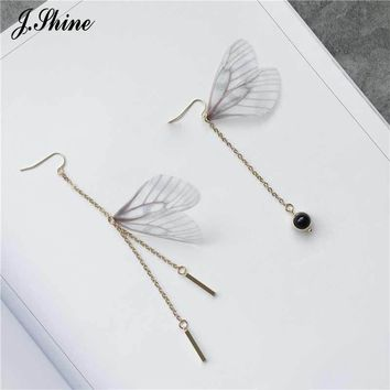 JShine For One Pair Handmade Bohemian Butterfly Wing Shape 2017 New Design Unique Long Dangle Drop Earrings for Women  Brincos