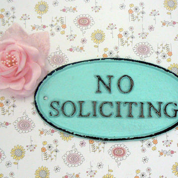 No Soliciting Small Cast Iron Sign Beach Blue Wall Door Decor Sign Shabby Cottage Chic Distressed Porch Garden Deck Plaque