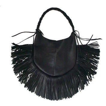Leather Fringe Bag ,  BLACK FRANGIA , Hobo Boho bag , Handstitched bag , Goatskin purse , Fringe shoulder bag , black leather fringe bag