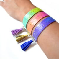 Ombre Leather Tassel Bracelet, Stacking Minimalist Small Cuff, Leather Strips in Rainbow Colors | Boo and Boo Factory - Handmade Leather Jewelry
